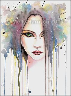 The Psychic  Fantasy Face Abstract Watercolor by MollyHarrisonArt