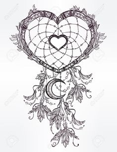 Hand drawn romantic drawing of a heart shaped dream catcher,..