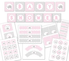 BABY SHOWER PINK elephant party package. $12.00, via Etsy.