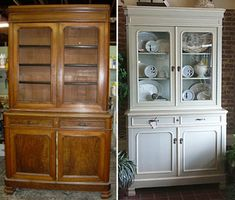 Painted China Cabinet Before and After | hutch before and after
