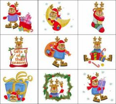 """""""Rudolph Reindeer"""" here we see 10 fun designs showing everyone's favorite reindeer Rudolph, going about his day in preparation for Christmas!"""