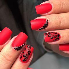 Manicure Nail Designs, Nail Polish Designs, Nail Manicure, Pretty Nail Art, Beautiful Nail Art, Love Nails, Red Nails, Nail Drawing, Black Nail Designs
