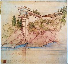 """This is a rendering done by Frank Lloyd Wright and his firm for a home that was to be built in San Francisco's Seacliff neighborhood for the V.C. Morris family. This was the first version. It is from """"Frank Lloyd Wright, the Collected Works, 1943-1959,"""" published by Taschen. Photo: Frank Lloyd Wright Foundation, Scottsdale, Arizona"""