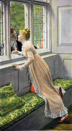 Artwork by Edmund Blair Leighton, Goodbye, Made of Photogravure hand-colored on India paper Romantic Paintings, Beautiful Paintings, Romance Art, Pre Raphaelite, Victorian Art, Art Moderne, Couple Art, Fine Art, Art History