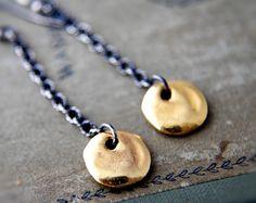 Golden Coin Charm Dangle Sterling Silver Earrings by PoleStar, $42.00