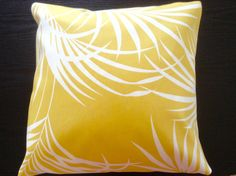 Aloha!   This tropical palm tree leaf on nostalgic yellow canvas design pillow cover brings you and your home Hawaiian breeze, which makes you smile and happy :). It has a nice cotton canvass soft and thick texture.  This is an envelope closure type, and I triple stitched the back openings for more durability.  Please write the dimensions (max. 18 inches) you would like when checking out.  The pattern may vary.   The cover sized 1/2-1 inch smaller than your inserts will create a professional…