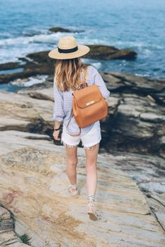 Our Gloria Backpack in Tan Charleston as seen on Jess Kirby of Prosecco & Plaid