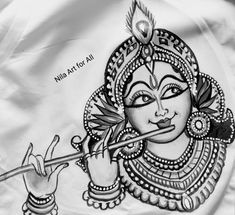 Krishna drawing by Nila Art for All. Kerala Mural Painting, Art Painting Gallery, Indian Art Paintings, Painting Tips, Abstract Paintings, Painting Art, Watercolor Painting, Art Drawings Beautiful, Art Drawings Sketches Simple