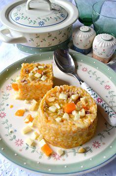 Dolci a go go: Cubotti di risotto alla salsiccia con zucca, pancetta e scamorza.