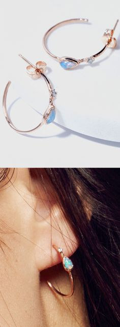 Opal & diamond hoop earrings