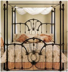Responsible Authentic Antique Double Bed Wrought Iron Forged Golden Period 1800-1899 Furniture