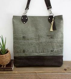 Army Canvas and Leather Tote