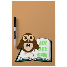 Cool Cute #owl with Alphabet book Back to #school Dry Erase Whiteboards by #PLdesign #backtoschool