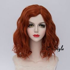 Daily Orange 35CM Medium Curly Lolita Women Heat Resistant Cosplay Fashion Wig #Cosplaysalon