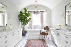 Suzie: Burnham Design - Amazing master bathroom with freestanding tub, pale gray walls paint ...