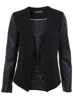 PU Sleeve Blazer - Coats & Jackets  - Clothing