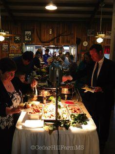 Double-Sided buffet line @ Cedar Hill Farm - Hernando,MS - www.gocedarhillfarm.com