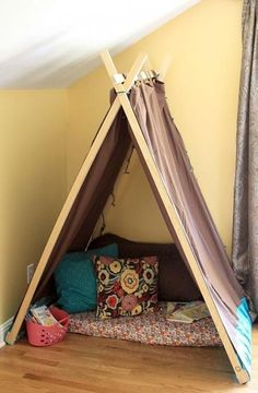 There are so many great things about these tents. They are good indoors or out. They are fast and easy to set up once made. Taken down, they are thin so they store easily. Best of all, they give a child the feeling of having their own private space and encourage the imagination.