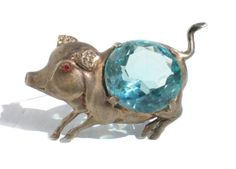 Sterling Silver Pig Brooch 40s Vintage Jewelry by RibbonsEdge, $79.99