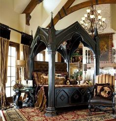 Black wood gothic cathedral style bed frame.