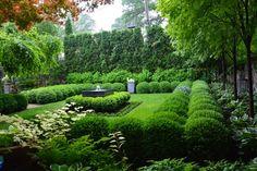 Hudson Cistern Fountain From The Branch Studio Hudson cistern fountainand greenery Boxwood Landscaping, Boxwood Garden, Topiary Garden, Backyard Landscaping, Luxury Landscaping, Formal Gardens, Small Gardens, Outdoor Gardens, Summer Landscape