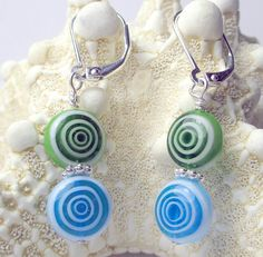 Green and Blue Millifiore circles dangle earrings blue