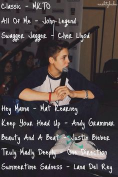 Matt's fav songs<3 I love classic and all of me omg and beauty and a beat. matt has good taste in music<3.