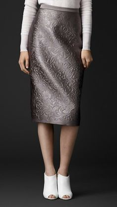 Burberry Prorsum Embossed Duchess Satin Pencil Skirt