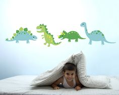 Now which little boy doesn't love dinosaurs?   Add a touch of dino roaring goodness to any room with these Dinosaur Stomp wall stickers by Speckled House!  Let little ones imaginations run wild by mixing and matching a huge selection of bright and fun removable wall stickers.  Speckled House vinyl decals can be applied to almost any surface.