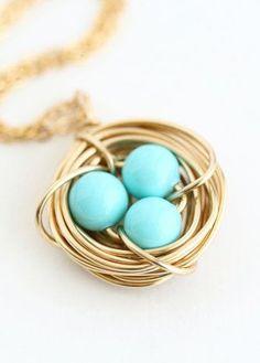 Aqua Birds Nest Necklace Aqua Robins Eggs Gift for  Nanny