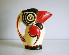 1930s Czech Pottery Ditmar Urbach Toucan Jug Vintage Art Deco Ceramic Figural Pitcher Red Yellow Black Bird Graphic Czechoslovakia Raven