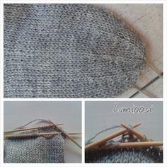 Lumioosi: Sädekavennuksen ohje ! Crochet Socks, Knitting Socks, Mittens, Straw Bag, Knitting Patterns, Tote Bag, Crocheting, Slippers, Bags