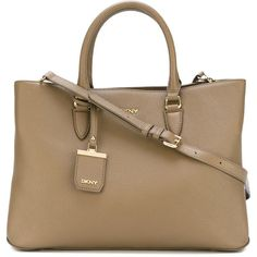 DKNY City Zip Tote ($415) ❤ liked on Polyvore featuring bags, handbags, tote bags, brown leather tote bag, tote handbags, genuine leather tote, leather tote handbags and brown leather handbag
