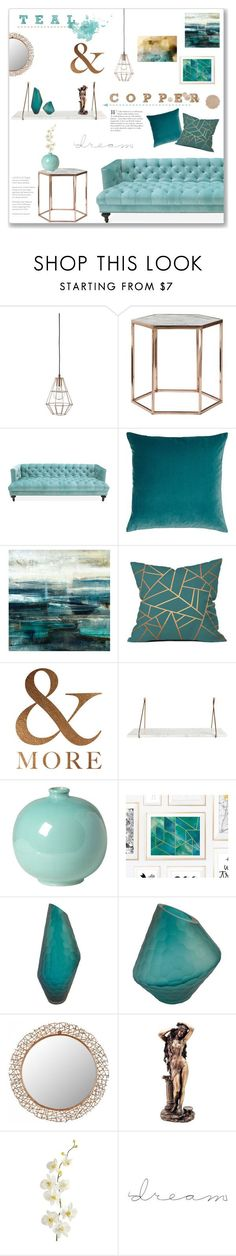 """""""Teal & Copper: Living Room"""" by lauren-a-j-reid ❤ liked on Polyvore featuring interior, interiors, interior design, home, home decor, interior decorating, Bloomingville, Jonathan Adler, Legacy Home and Leftbank Art"""