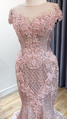 A pink mermaid dress for non traditional brides who want to make a bold statement... Lace Dress Styles, African Lace Dresses, Latest African Fashion Dresses, White Homecoming Dresses, Bridesmaid Dresses, Prom Dresses, Crystal Wedding Dresses, Wedding Dresses For Girls, Pink Mermaid Dress