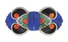 Original Art Deco brooch by Boucheron, designed by Lucien Hirtz. It contains jade, coral, lapis lazuli and onyx. It was a part of a two piece set that was displayed at the Exposition des Arts Decoratifs in Via Jewelry Nerd Bijoux Art Nouveau, Art Nouveau Jewelry, Jewelry Art, Antique Jewelry, Vintage Jewelry, Fine Jewelry, Jewelry Design, Jewlery, Silver Jewelry