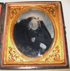 1/6 plate Ambrotype of a post mortem of a little boy
