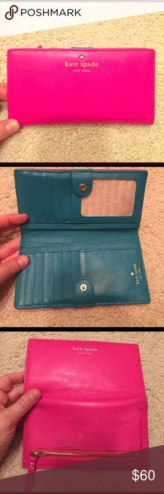 Beautiful Kate Spade pink and turquoise wallet! This is an amazing wallet! Tons of card holders and excellent condition. Vibrant colors and authentic leather! Kate Spade! Make an offer! kate spade Bags Wallets