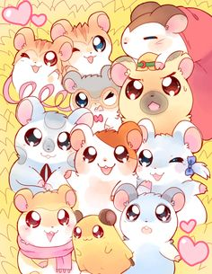 Ham-Hams by pekou on deviantart other fan art hamtaro, kawai Kawaii Doodles, Kawaii Chibi, Anime Kawaii, Kawaii Art, Kawaii Wallpaper, Cute Wallpaper Backgrounds, Cute Wallpapers, Hamster Wallpaper, Cute Animal Drawings