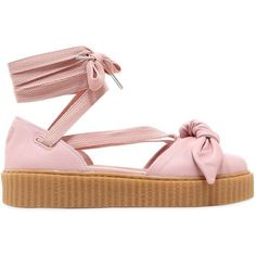 Fenty X Puma Women 30mm Bow Creeper Lace Up Sandal Sneakers ($140) ❤ liked on Polyvore featuring shoes, sneakers, pink, rubber sneakers, rubber shoes, creeper shoes, platform shoes and pink shoes #ClogsShoesPlatform