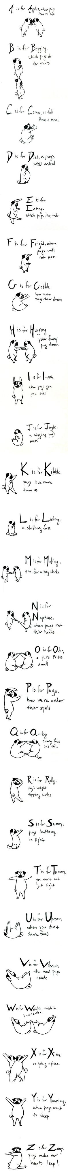 The ABC's of pugs. Repinning for Scott!