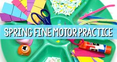 Spring fine motor practice activities for preschool and kindergarten. Fun, hands-on activities that support the development of fine motor skills such as cutting, snipping, pinching, squeezing and more!