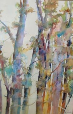 """Contemporary Landscape Artists International: Abstract Landscape, Colorful Aspen Tree Painting """"Aspen Textures"""" by Intuitive Artist Joan Fullerton Abstract Landscape Painting, Watercolor Landscape, Landscape Art, Landscape Paintings, Tree Paintings, Indian Paintings, Contemporary Landscape, Watercolor Trees, Abstract Watercolor"""
