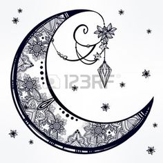 mystic moon: Intricate hand drawn ornate crescent moon with feathers, gemstones. Isolated Vector illustration.Tattoo art, astrology, spirituality, alchemy, magic symbol. Ethnic, mystic tribal element for your use
