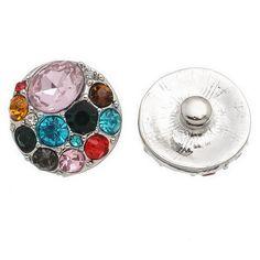 Colourful Rhinestone Snap Button 20mm