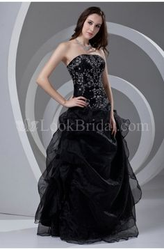 A-Line Strapless Floor-Length Organza Prom Dress with Embroidery
