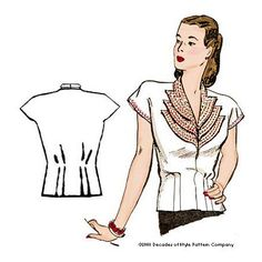 "illustration for 1940s Girl Friday Blouse pattern - up to a 46"" bust - great pattern site"