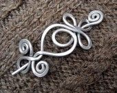 Celtic Shawl Pin / Hair Pin - Brass - Double Swirls and Curls -Celtic Knot-  Hammered Wire- Celtic Accessory -Celtic Brooch. $28.00, via Etsy.