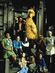 The cast of Sesame Street, 1970s.  Mr. Hooper's Store was the best store ever!