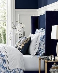 "2,437 Likes, 16 Comments - Lavender Hill Interiors (@lavenderhillinteriors) on Instagram: ""Loving this deep navy wall and bedhead. Image via Pinterest."""